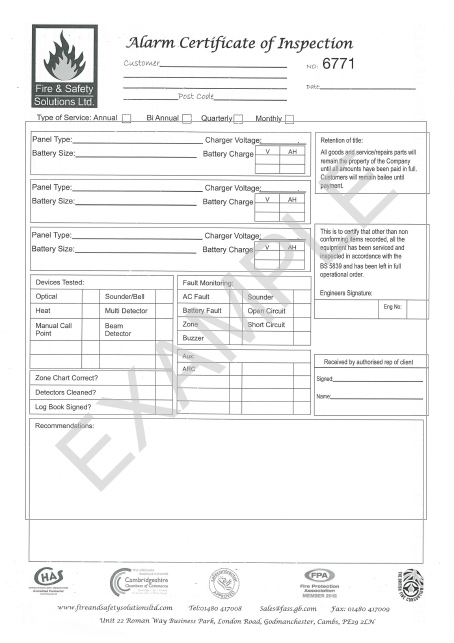 Fire extinguisher and fire alarm serviceing and contract maintenance certificate 01 yadclub Gallery