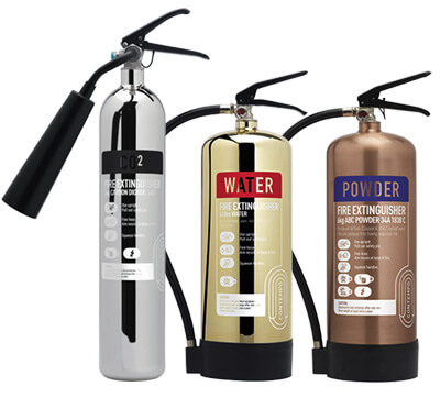 Stainless Steel, Gold and Brass finish Fire Extinguishers